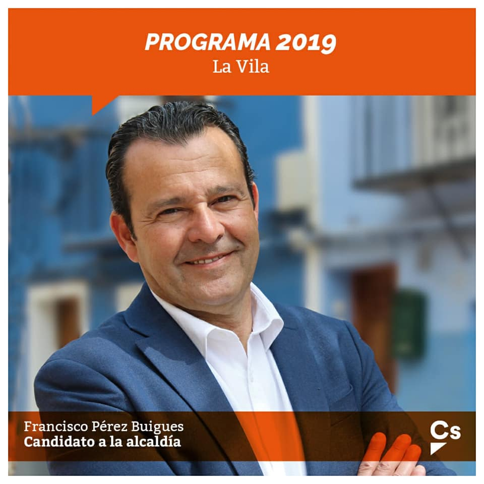 Cartel electoral del portavoz de Cs en Villajoyosa, Paco Pérez Buigues