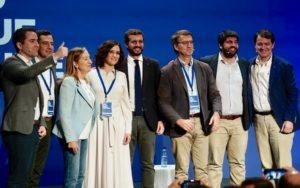 Díaz Ayuso junto a Pablo Casado, presidentes autonómicos del PP, Ana Pastor y García Egea / Pablo Casado