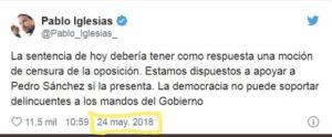 El tuit de Pablo Iglesias pidiendo la moción de censura a Rajoy