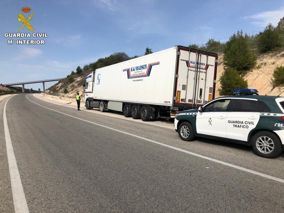 Camión detenido por la Guardia Civil en la carretera