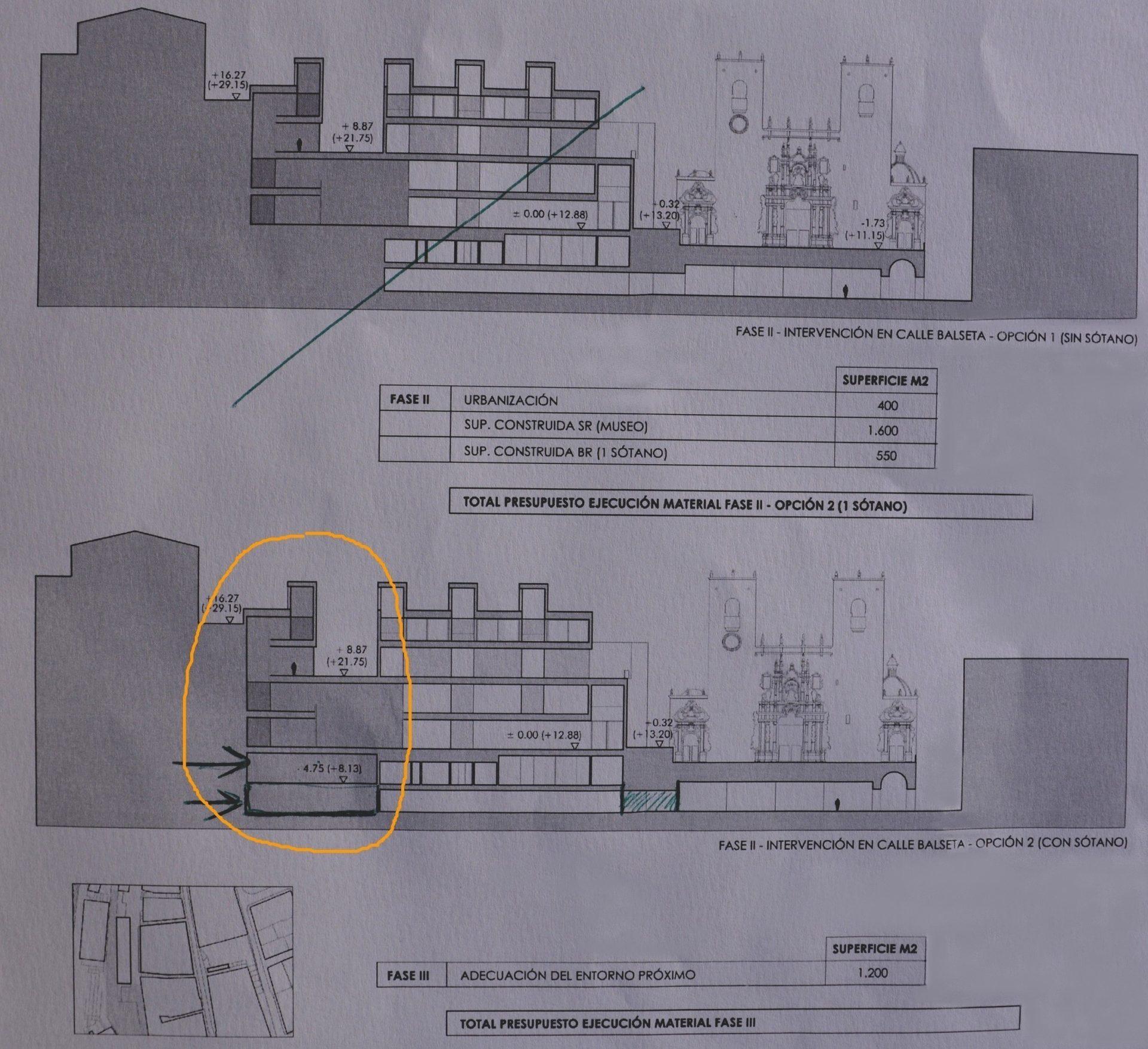 Algunos de los primeros bocetos sobre los que se trabaja para la ampliación del MACA
