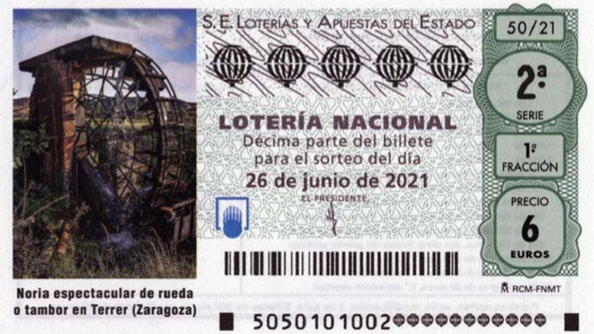 Imagen del décimo de la Lotería Nacional de hoy 26 de junio.