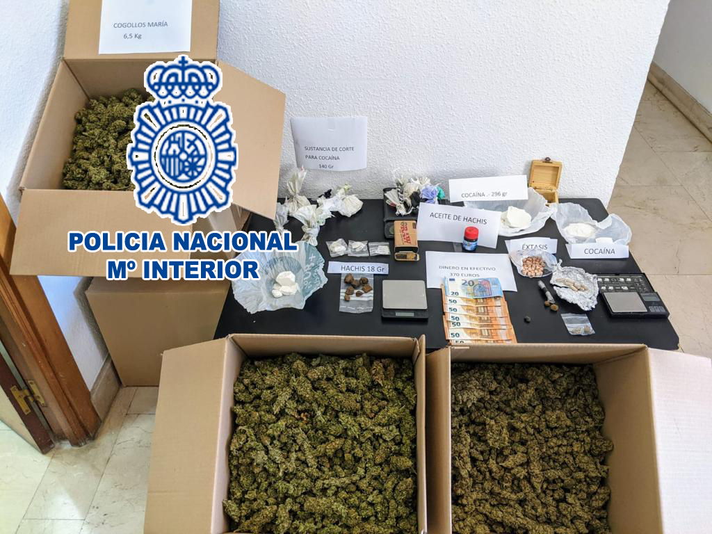Incautación de la Policía Nacional en el registro de la vivienda.